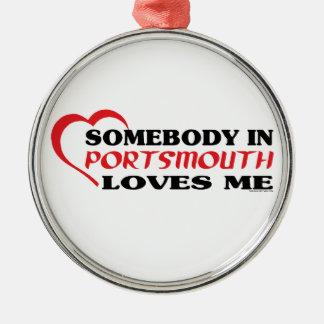 Jemand in Portsmouth-Lieben ich Silbernes Ornament