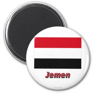 Jemen Flagge MIT Namen Runder Magnet 5,1 Cm