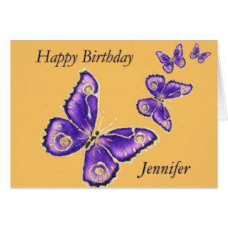 Jennifer, lila Schmetterlingskarte alles Gute zum Grußkarte