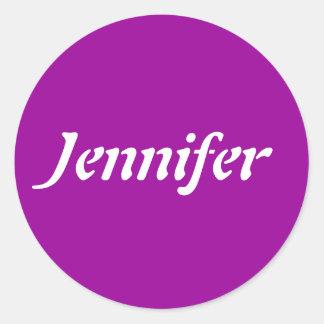 Jennifernamensschablone Runder Aufkleber
