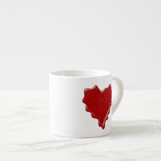 Jeremy. Rotes Herzwachs-Siegel mit NamensJeremy Espressotasse