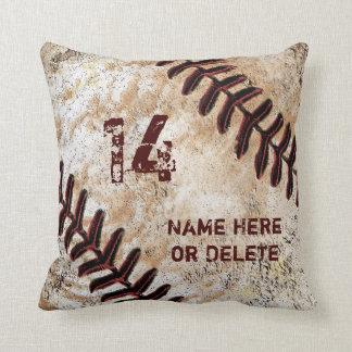Jerseyzahl und -name auf Vintagem Baseball-Kissen Kissen