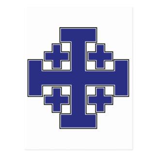 Jerusalem-Kreuz-Blau Postkarte