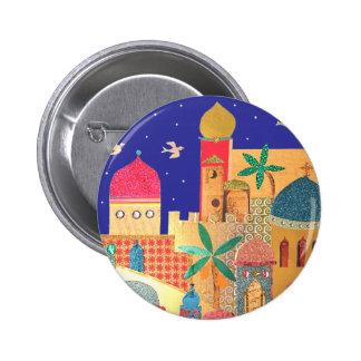 Jerusalem-Stadt-bunte Kunst Runder Button 5,7 Cm