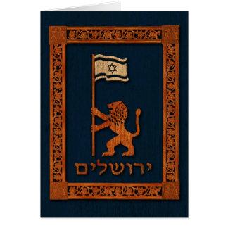 Jerusalem-Tageslöwe mit Flagge Karte