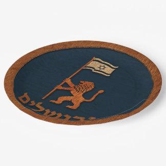 Jerusalem-Tageslöwe mit Flagge Pappteller