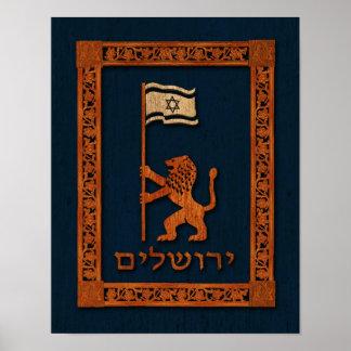 Jerusalem-Tageslöwe mit Flagge Poster