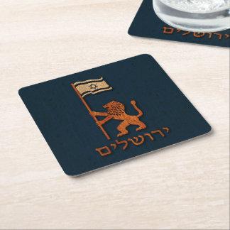 Jerusalem-Tageslöwe mit Flagge Rechteckiger Pappuntersetzer