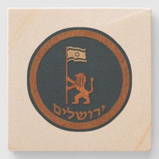 Jerusalem-Tageslöwe mit Flagge Steinuntersetzer