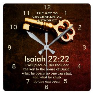 Jesaja-22:22 Schlüssel zum Haus des Quadratische Wanduhr