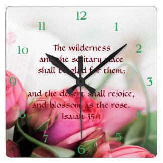 Jesaja-35:1 - die Wüste freut sich und blüht Quadratische Wanduhr