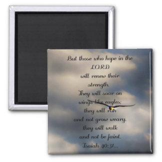 Jesaja-40:31 kundenspezifisches christliches quadratischer magnet