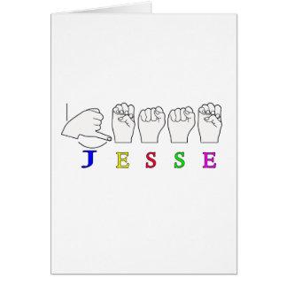 JESSE NAMENSzeichen ASL FINGERSPELLED Karte