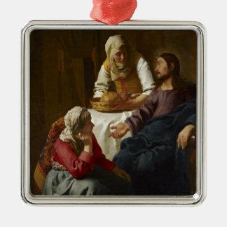 Jesus am Zuhause von Mary und von Martha Silbernes Ornament