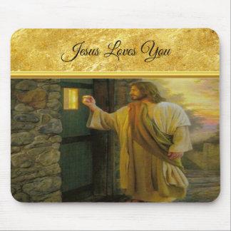 Jesus an Ihrer Tür mit einem Goldfolienentwurf Mousepad