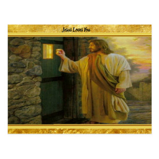 Jesus an Ihrer Tür mit einem Goldfolienentwurf Postkarte