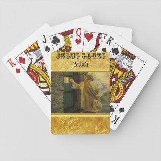 Jesus an Ihrer Tür mit einem Goldfolienentwurf Spielkarten