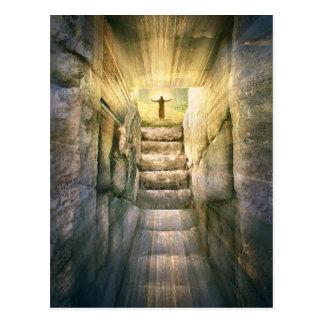 Jesus an leerer Grab-Ostern-Auferstehung Postkarte