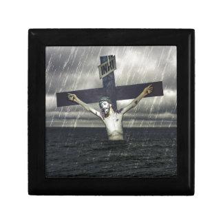 Jesus auf dem Kreuz in dem Meer Erinnerungskiste