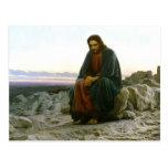 Jesus auf einem Felsen in der Wüste Postkarte