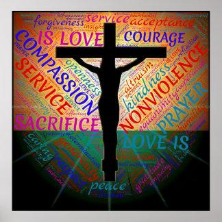Jesus auf Kreuz, nicht Gewalt, Annahme-Plakat Poster