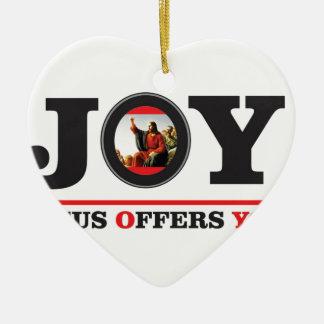 Jesus bietet Ihnen Freudeaufkleber an Keramik Ornament