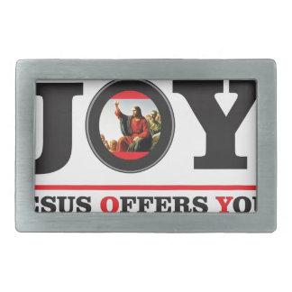 Jesus bietet Ihnen Freudeaufkleber an Rechteckige Gürtelschnalle