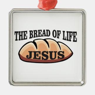 Jesus-Brot des Lebens Quadratisches Silberfarbenes Ornament