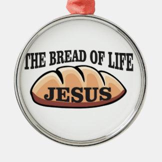 Jesus-Brot des Lebens Rundes Silberfarbenes Ornament