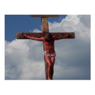 Jesus Christus crucified auf dem Querpostkarten-Fo