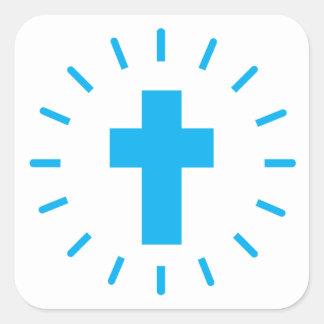 Jesus Christus-Kreuz Quadratischer Aufkleber