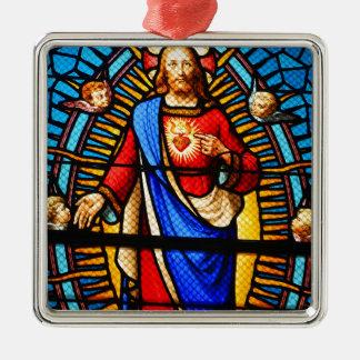 Jesus Christus Quadratisches Silberfarbenes Ornament