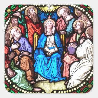 Jesus Christus-Tauben-Buntglas-Aufkleber Quadratischer Aufkleber