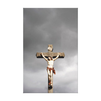 Jesus Christuskreuzigungsskulptur Leinwanddruck