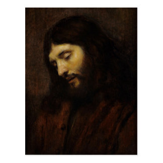 Jesus, der abwärts schaut postkarte