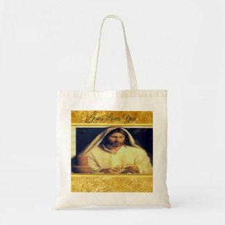 Jesus, der Goldbeschaffenheit Brotmatthews 14-13 Tragetasche