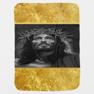 Jesus, der Himmel mit einem Goldfolienentwurf Kinderwagendecke