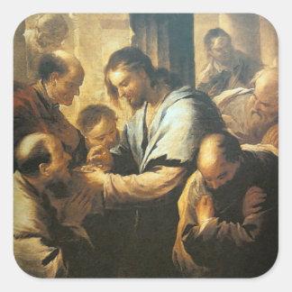 Jesus, der Kommunions-Aufkleber gibt Quadratischer Aufkleber
