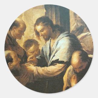 Jesus, der Kommunions-Aufkleber gibt Runder Aufkleber