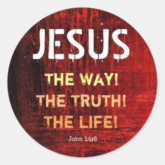 Jesus die Weise die Wahrheit das Leben-John-14:6 Runder Aufkleber