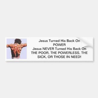 Jesus drehte seine Rückseite auf Power Autoaufkleber