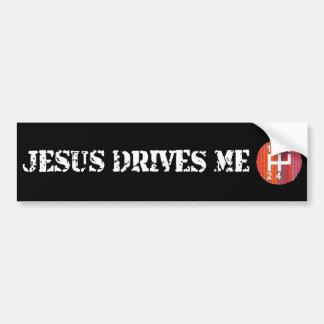 Jesus fährt mich schwarzer christlicher Stoßaufkle Autoaufkleber