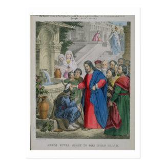 Jesus gibt Anblick zu einem geborenen blinden, von Postkarte