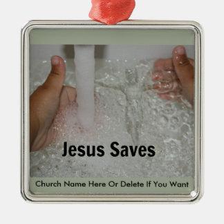 Jesus im Wasser mit zwei Daumen Up Silbernes Ornament