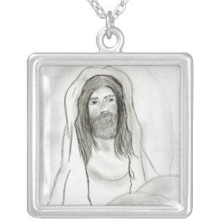 Jesus in der Höhle Versilberte Kette
