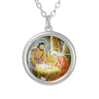 Jesus in der Krippen-WeihnachtsGeburt Christi Versilberte Kette