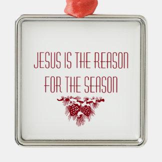 JESUS IST DER GRUND FÜR JAHRESZEIT Weihnachtszitat Silbernes Ornament