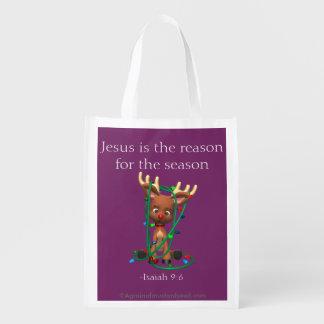 Jesus ist der Grund während der Jahreszeit Wiederverwendbare Einkaufstasche