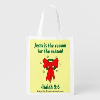 Jesus-Jahreszeit-Weihnachten Wiederverwendbare Einkaufstasche