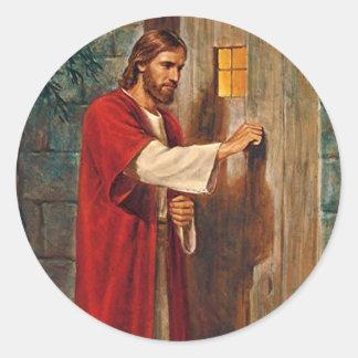 Jesus klopft auf der Tür Runder Aufkleber